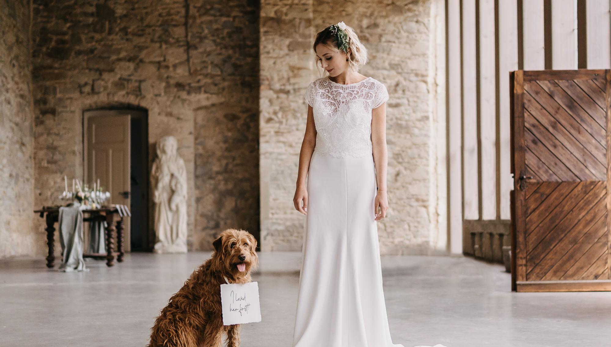 Braut mit ihrem Hund kurz vor der Trauung   Ausbildung für Freie Rednerinnen und Redner   RedeKunstWerk